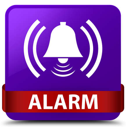 Alarm (bell icon) isolated on purple square button with red ribbon in middle abstract illustration Stock Photo