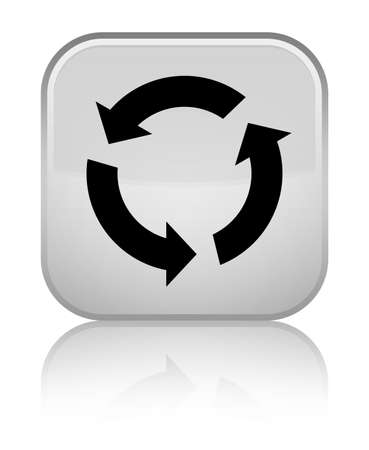 improving: Refresh icon isolated on special white square button reflected abstract illustration Stock Photo
