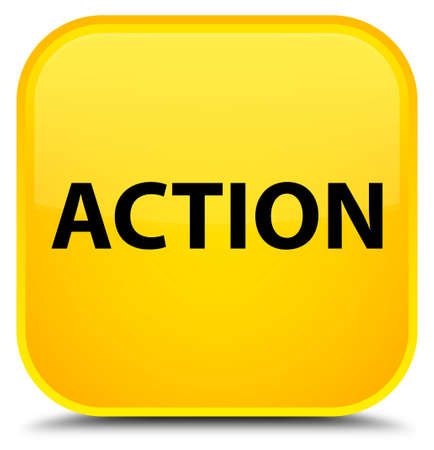Action isolated on special yellow square button abstract illustration Stock Photo