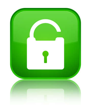Unlock icon isolated on special green square button reflected abstract illustration
