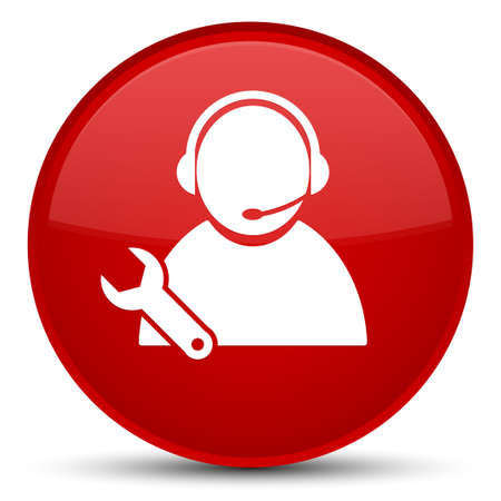 Tech support icon isolated on special red round button abstract illustration