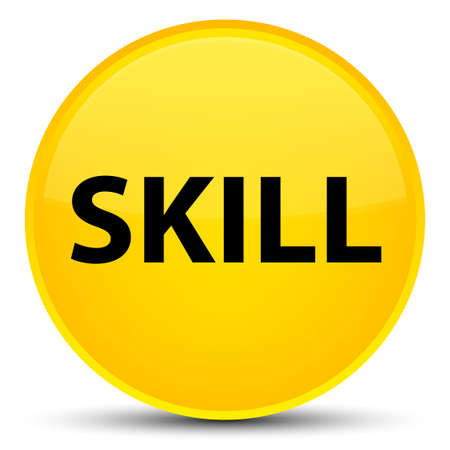 Skill isolated on special yellow round button abstract illustration