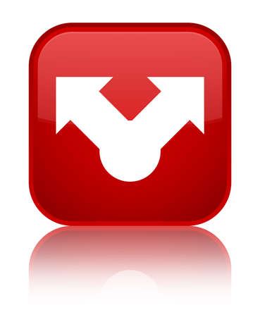Share icon isolated on special red square button reflected abstract illustration Stock Photo