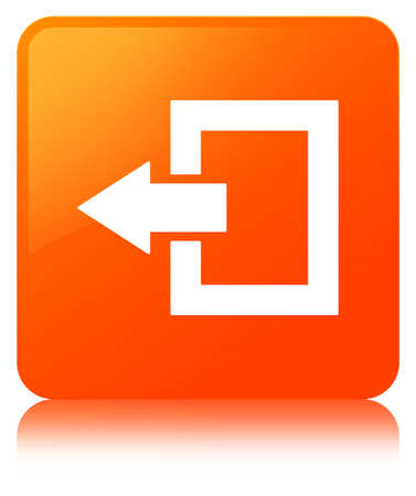 Logout icon isolated on orange square button reflected abstract illustration