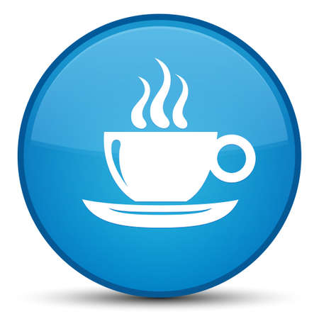 Coffee cup icon isolated on special cyan blue round button abstract illustration