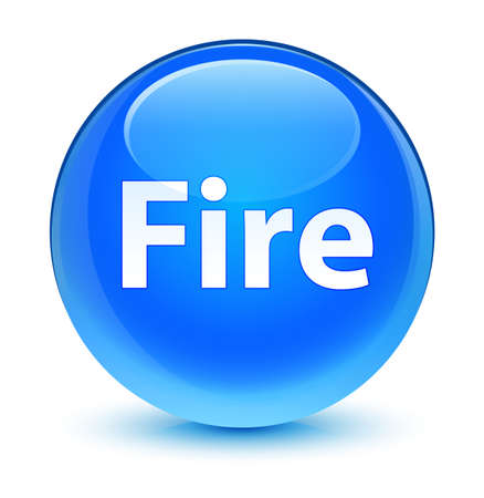 Fire isolated on glassy cyan blue round button abstract illustration Stock Photo