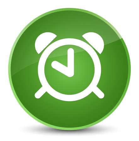 up time: Alarm clock icon isolated on elegant soft green round button abstract illustration