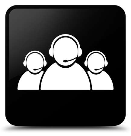 Customer care team icon isolated on black square button abstract illustration