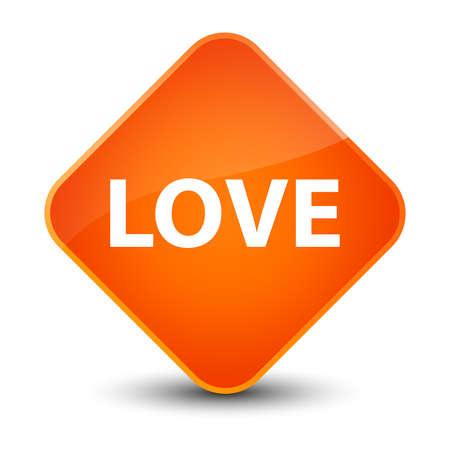 Love isolated on elegant orange diamond button abstract illustration Stock Photo