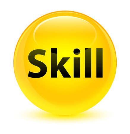 Skill isolated on glassy yellow round button abstract illustration Stock Photo