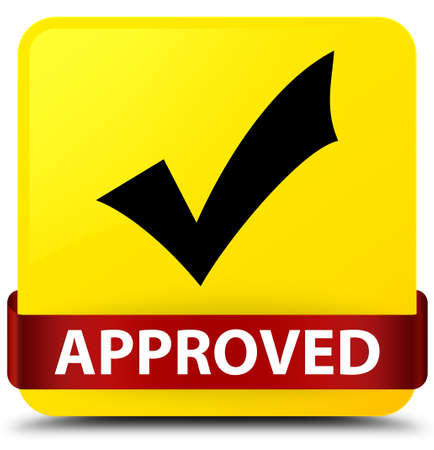 Approved (validate icon) isolated on yellow square button with red ribbon in middle abstract illustration