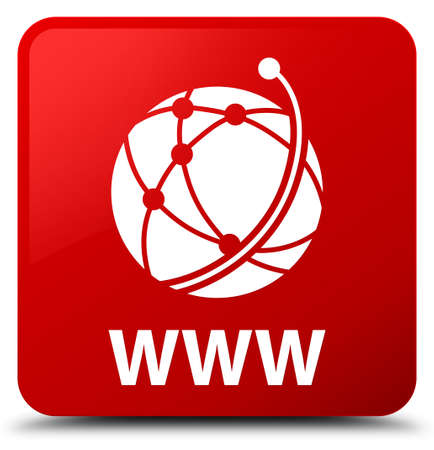 WWW (global network icon) isolated on red square button abstract illustration Stock Photo