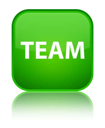 Team isolated on special green square button reflected abstract illustration Stock Photo