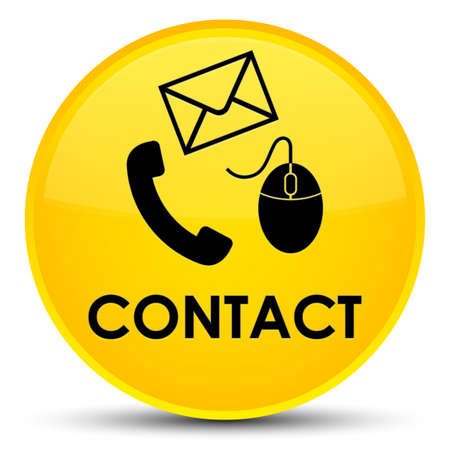 email icon: Contact (phone email and mouse icon) yellow isolated on special round button abstract illustration
