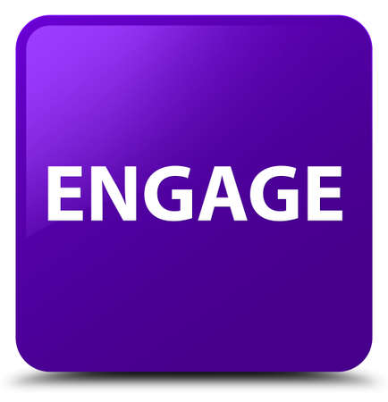 Engage isolated on purple square button abstract illustration Imagens - 89032235