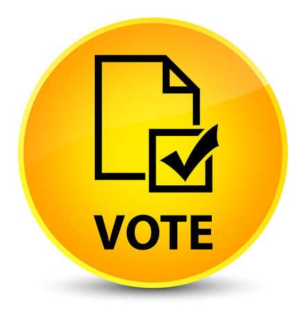 Vote (survey icon) isolated on elegant yellow round button abstract illustration Stock Photo