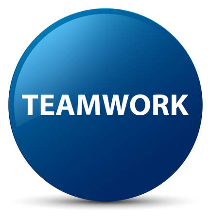 Teamwork isolated on blue round button abstract illustration