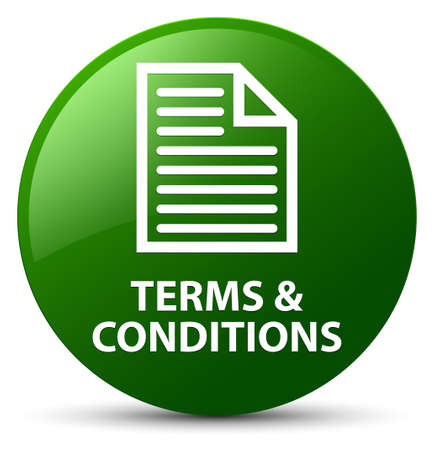 Terms and conditions (page icon) isolated on green round button abstract illustration