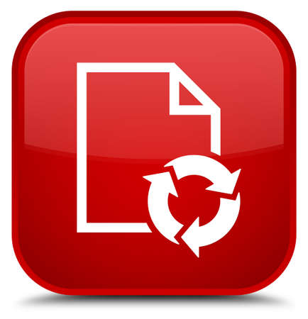 Document process icon isolated on special red square button abstract illustration