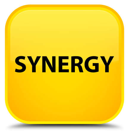 Synergy isolated on special yellow square button abstract illustration