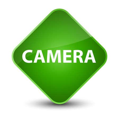 Camera isolated on elegant green diamond button abstract illustration
