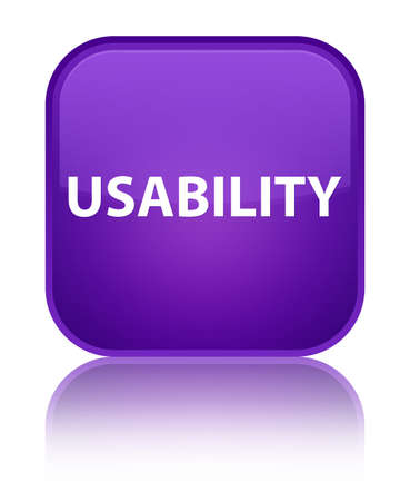 Usability isolated on special purple square button reflected abstract illustration Stock Photo