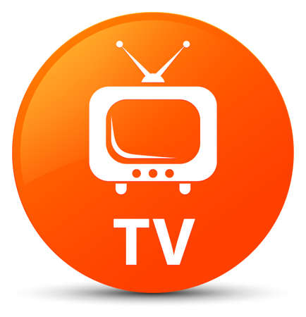 TV isolated on orange round button abstract illustration Stock Photo
