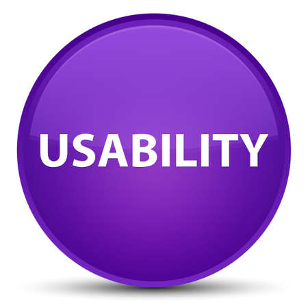 Usability isolated on special purple round button abstract illustration