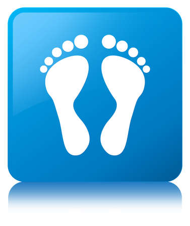 Footprint icon isolated on cyan blue square button reflected abstract illustration