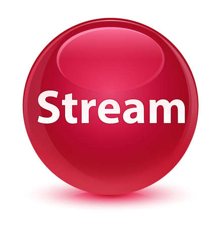 Stream isolated on glassy pink round button abstract illustration Banco de Imagens