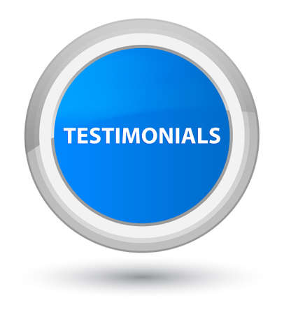 Testimonials isolated on prime cyan blue round button abstract illustration