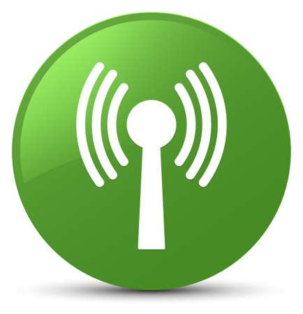 Wlan icône de réseau isolé sur le bouton vert doux vert illustration vectorielle Banque d'images - 89031767