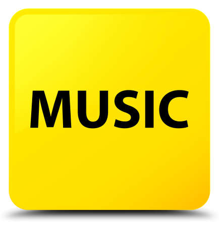 voices: Music isolated on yellow square button abstract illustration