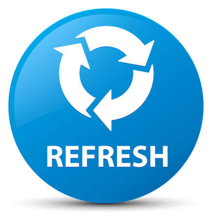 Refresh isolated on cyan blue round button abstract illustration