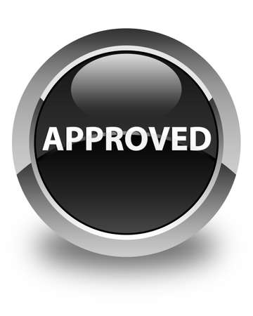 Approved isolated on glossy black round button abstract illustration