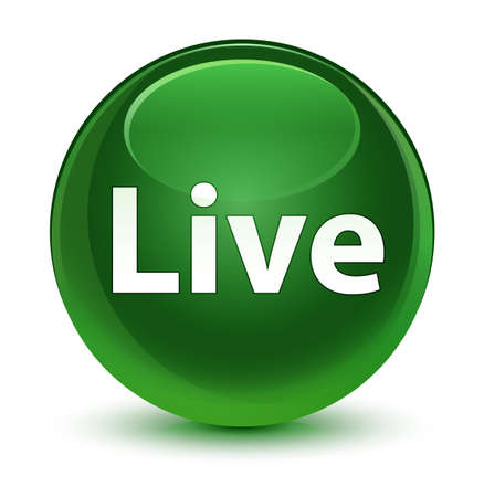 Live isolated on glassy soft green round button abstract illustration