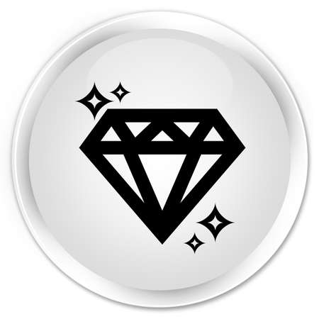 pietre preziose: Icona del diamante isolata sull'illustrazione rotonda bianca premio dell'estratto del bottone
