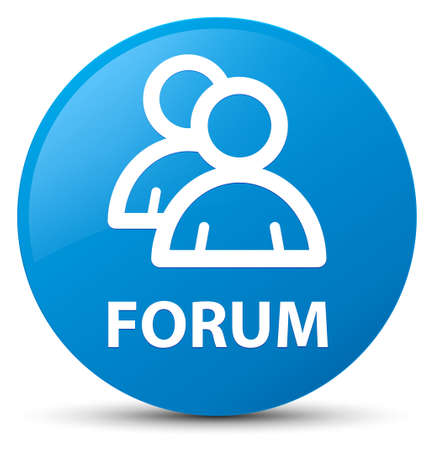 Forum (group icon) isolated on cyan blue round button abstract illustration
