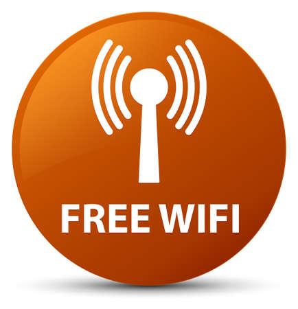 Wifi gratuit (réseau WLAN) isolé sur illustration abstraite du bouton rond brun Banque d'images - 88887239