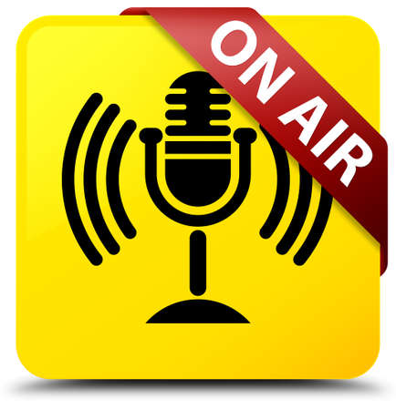 red sound: On air (mic icon) isolated on yellow square button with red ribbon in corner abstract illustration