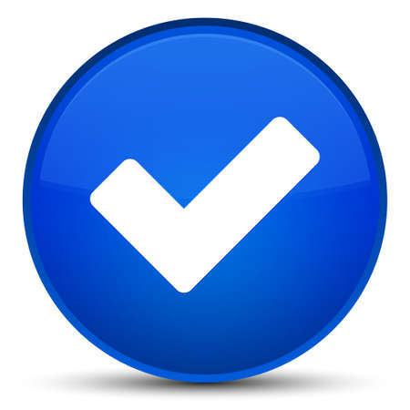 Validate icon isolated on special blue round button abstract illustration Stock Photo