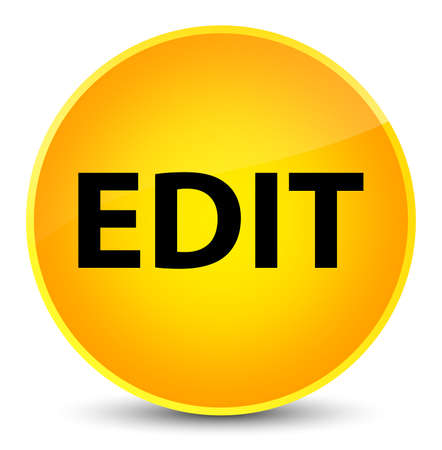 Edit isolated on elegant yellow round button abstract illustration