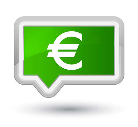 Euro sign icon isolated on prime green banner button abstract illustration Stock Photo