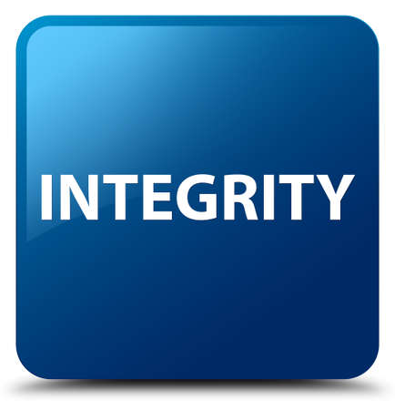 Integrity isolated on blue square button abstract illustration