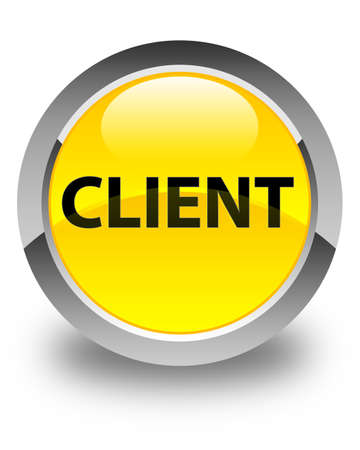 consumer: Client isolated on glossy yellow round button abstract illustration Stock Photo