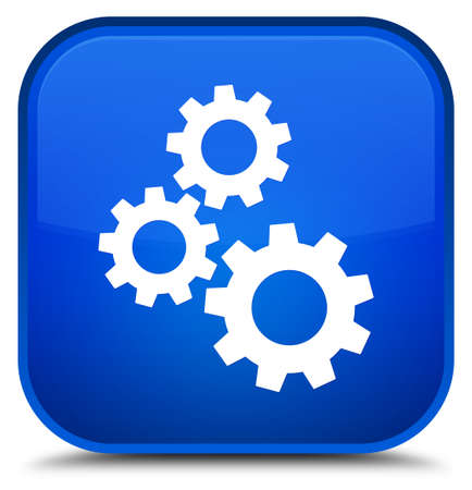 cogwheel: Gears icon isolated on special blue square button abstract illustration