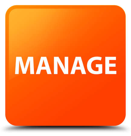 command: Manage isolated on orange square button abstract illustration