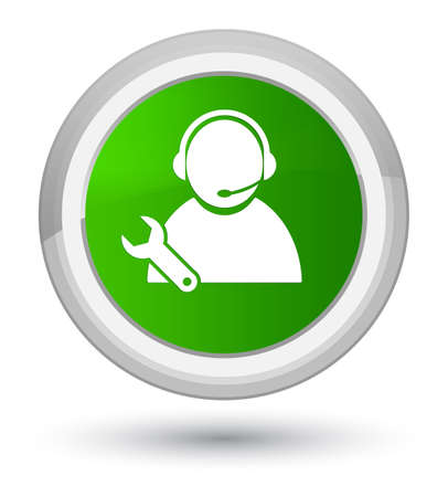 Tech support icon isolated on prime green round button abstract illustration Stock Photo