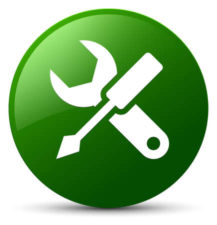 Einstellungsikone lokalisiert auf grüner runder Knopfzusammenfassungsillustration