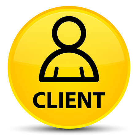 Client (member icon) isolated on special yellow round button abstract illustration Stock Photo